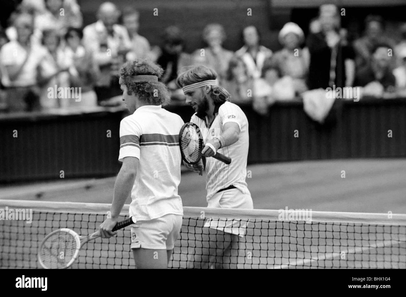 7bb42d8f9cea Wimbledon Tennis  Men s Finals 1981  Bjorn Borg congratulates John McEnroe  after losing to him