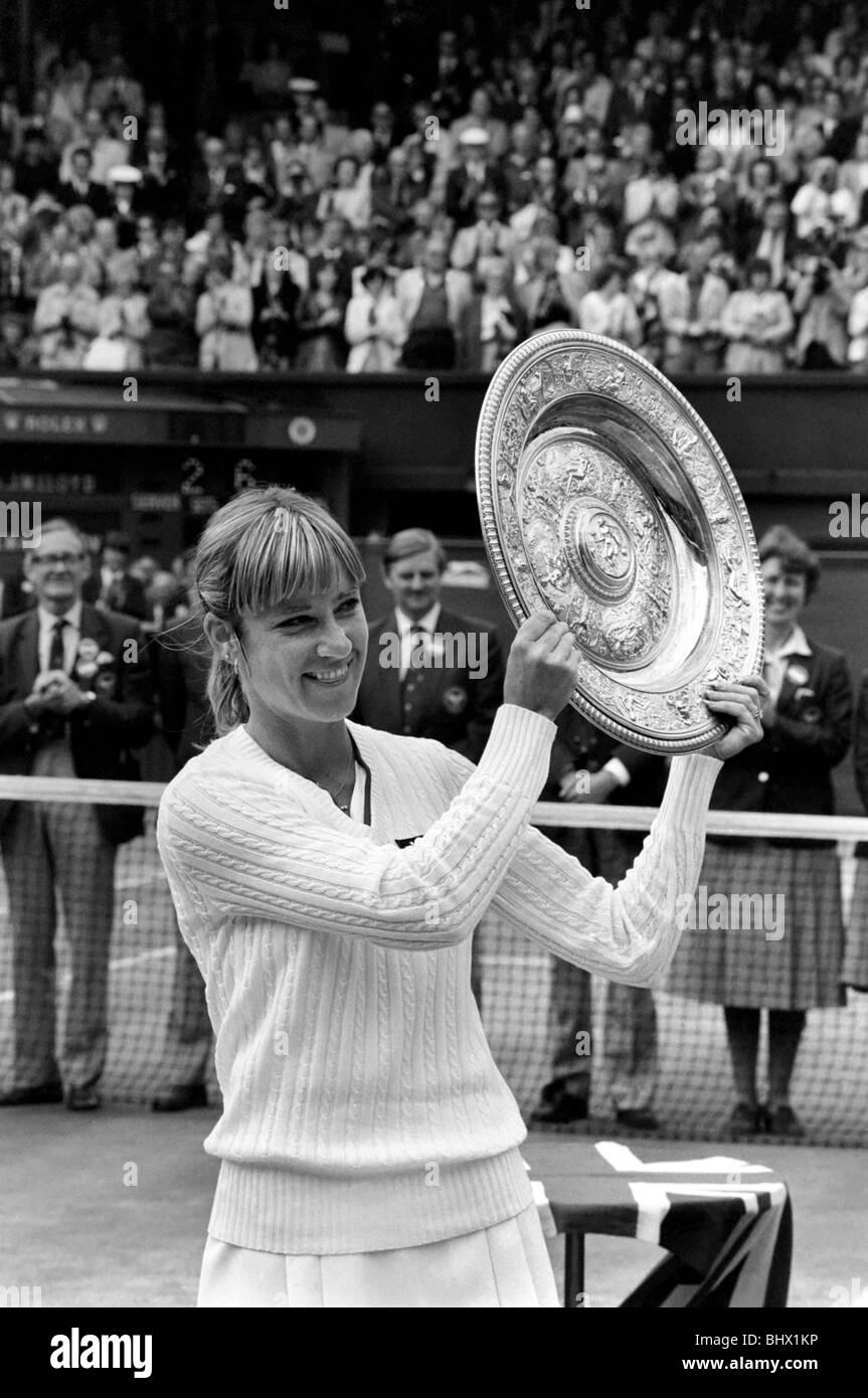 Wimbledon Tennis. 1981 Womens Finals. Chris Evert Lloyd v. Hana Mandlikova. Princess Diana watching. July 1981 81 - Stock Image