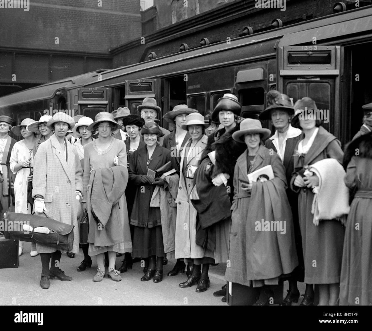 Paris 1922 British Women's Team at a Train Station in London ahead of  departure for the first ever International Track Meet for