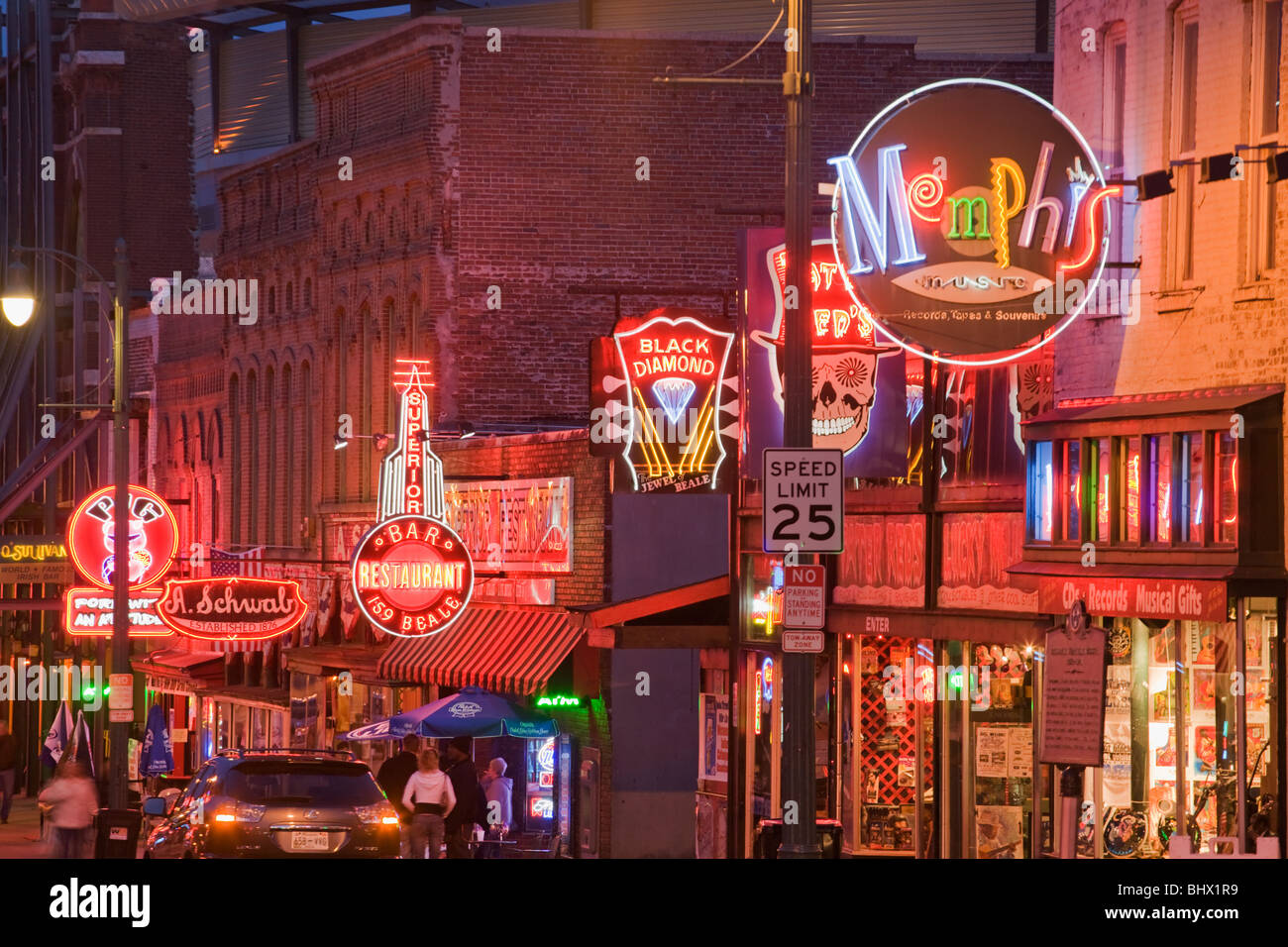 Beale Street, home of the blues, Memphis, Tennessee - Stock Image