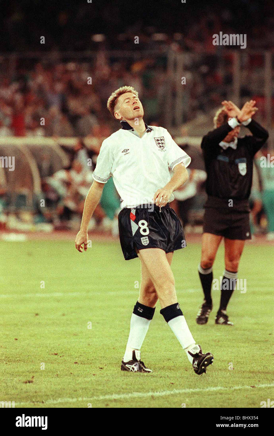 Chris Waddle misses a penalty shoot out in world cup 1990 during England v Germany semi final game Y2K Football - Stock Image