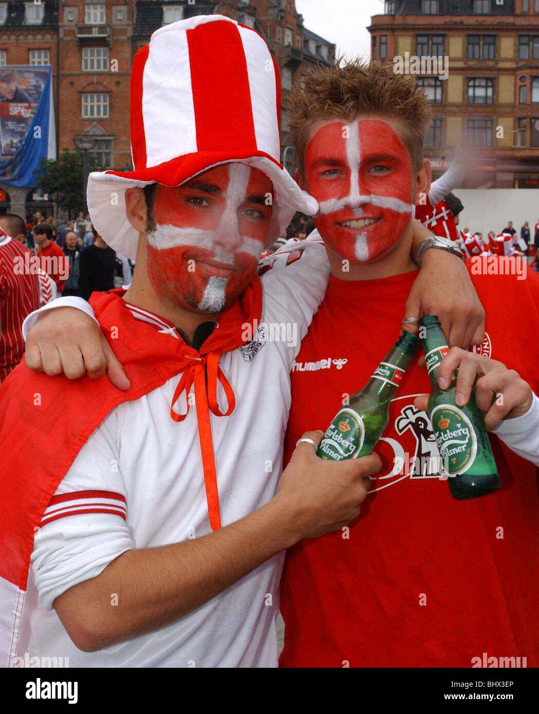 Football Fans Supporters June 2002 Pictured ahead of England v Denmark 2nd Round Match Danish fans gather in central - Stock Image