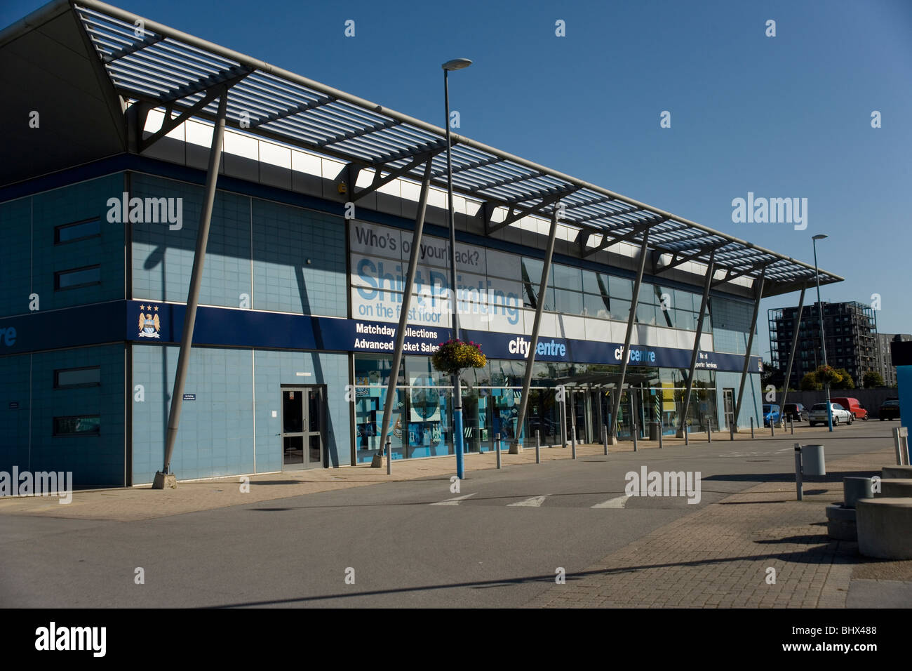 Manchester City Football Club shop at the Eastlands  Sport City complex in Manchester - Stock Image