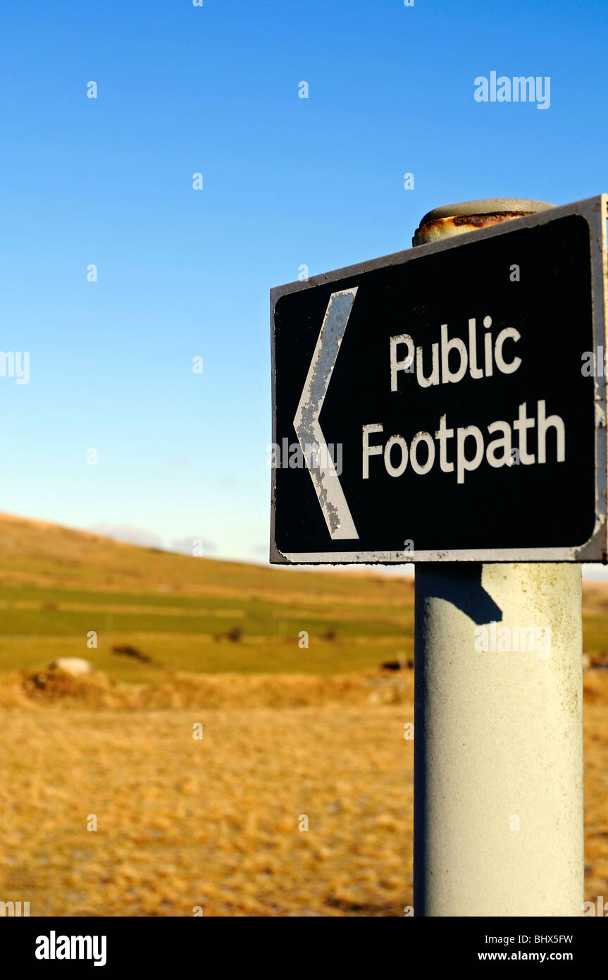 a public footpath sign on dartmoor, devon, uk - Stock Image