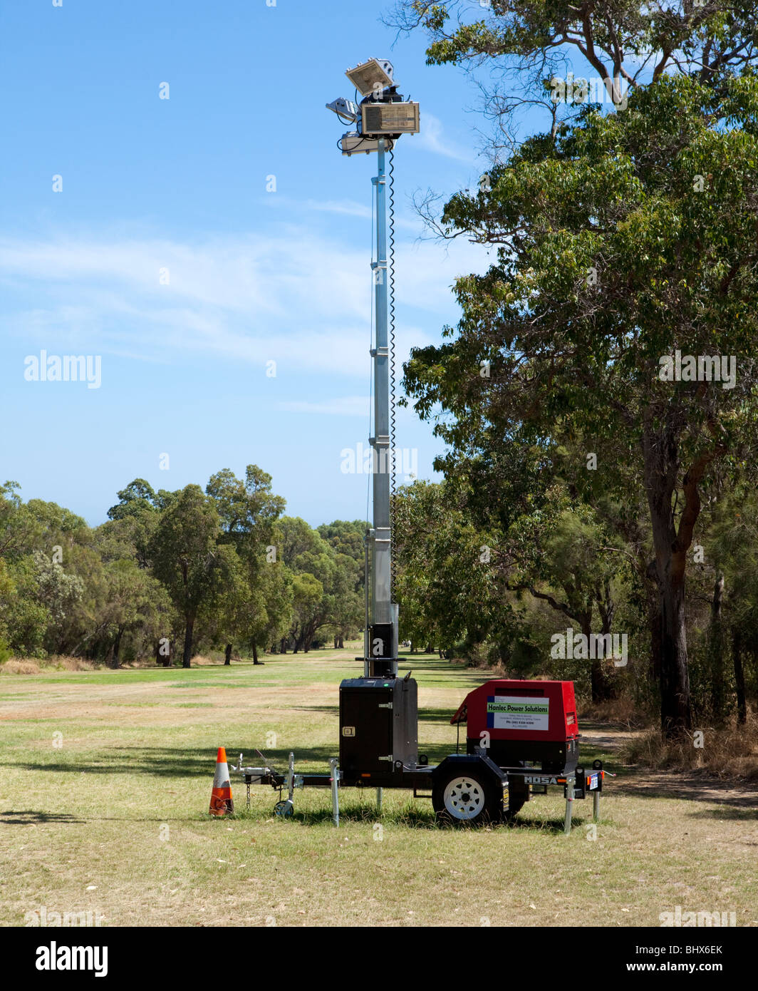 Portable lighting tower and generator - Stock Image