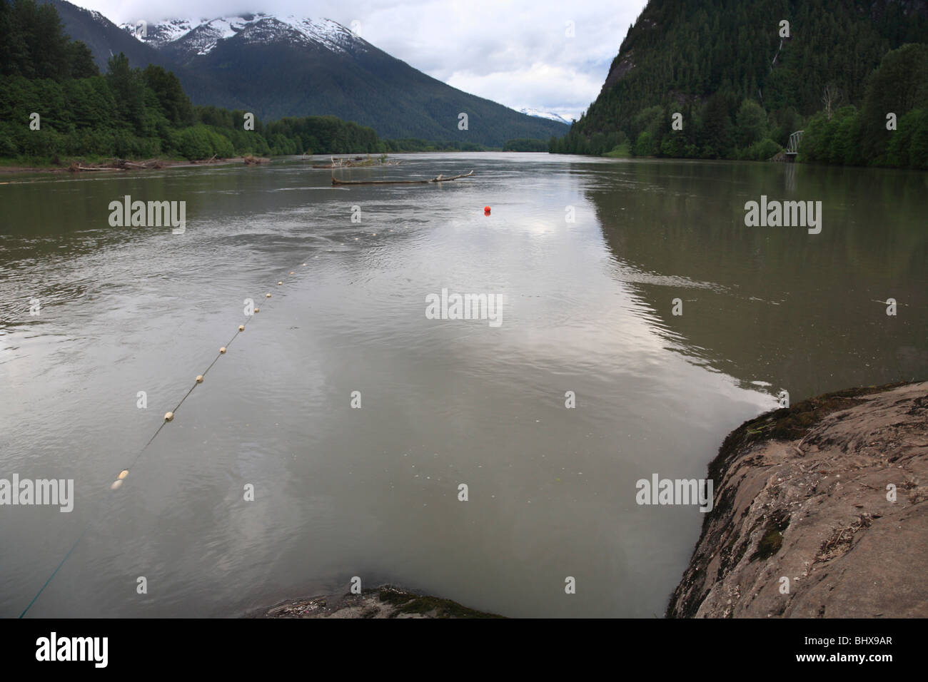Gillnet in river from First Nations food fisherman, Skeena river, British Columbia - Stock Image