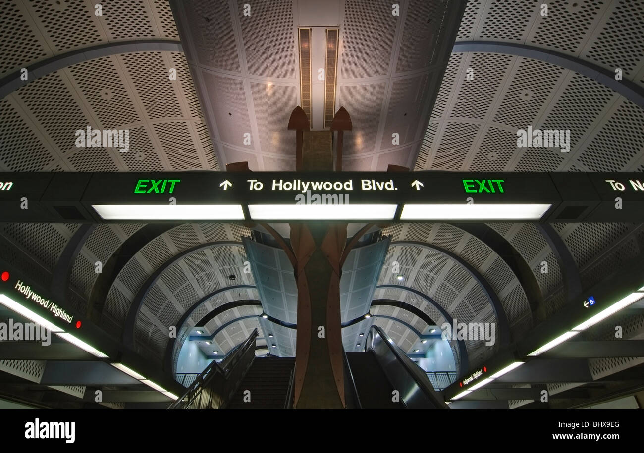Subway station in Hollywood and Highland in Los Angeles, California.  The Metro Red line runs through this station. - Stock Image