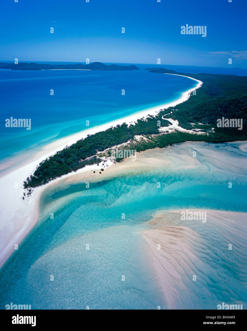 Arial Shot of Whitsunday Islands in Queensland, Australia - Stock Image