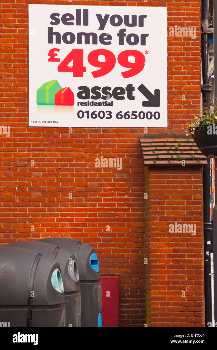 A sign advertising asset residential home sales in Norwich , Norfolk , England , Britain , Uk - Stock Image