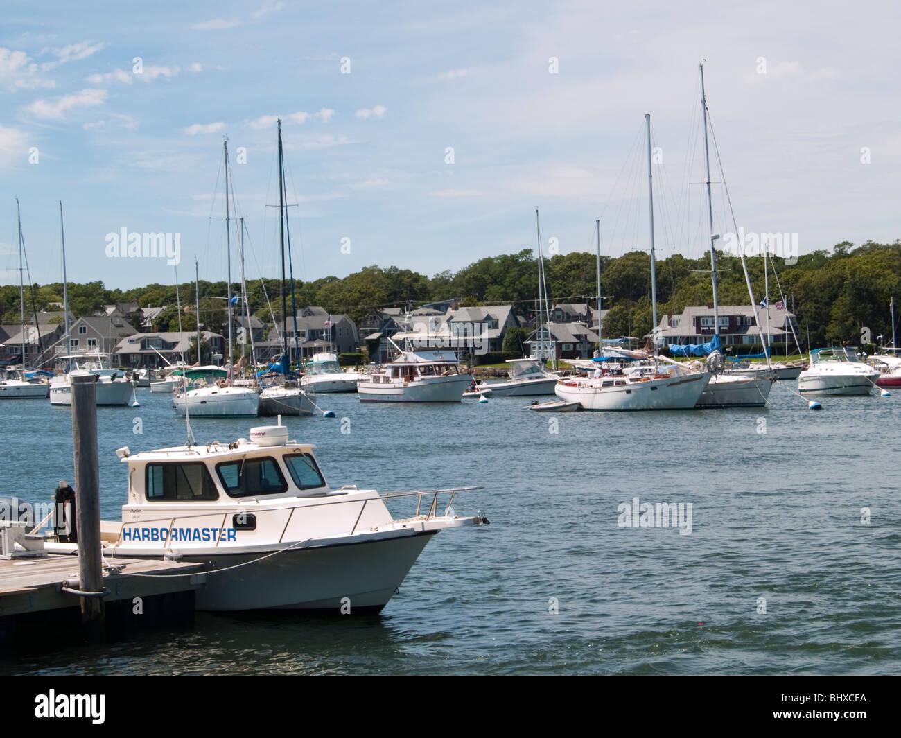 The harbor at Oak Bluffs Martha's Vineyard, Massachusetts USA - Stock Image