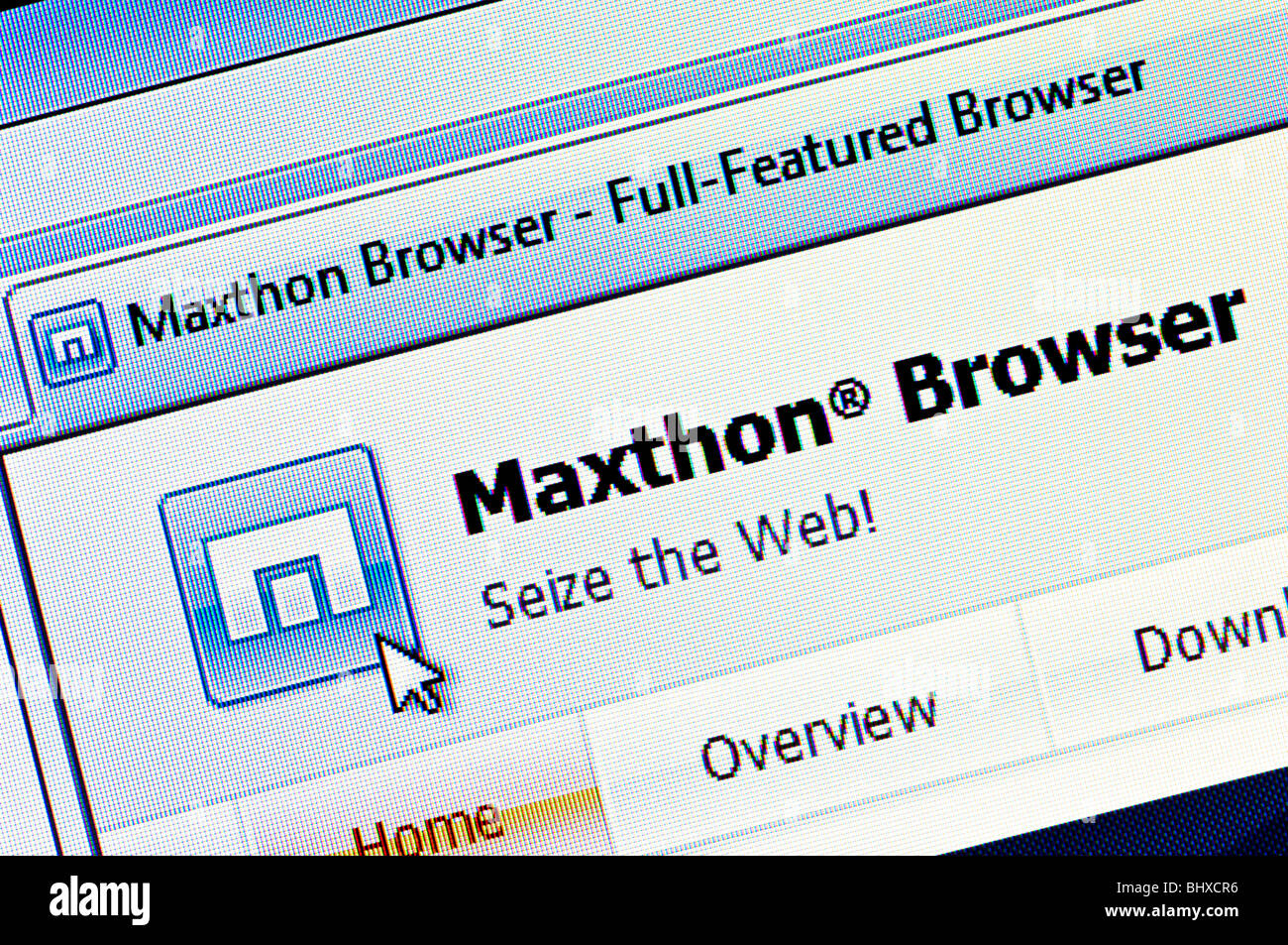 Macro screenshot of the website and logo of Maxthon - the China based freeware web browser for Windows. Editorial - Stock Image