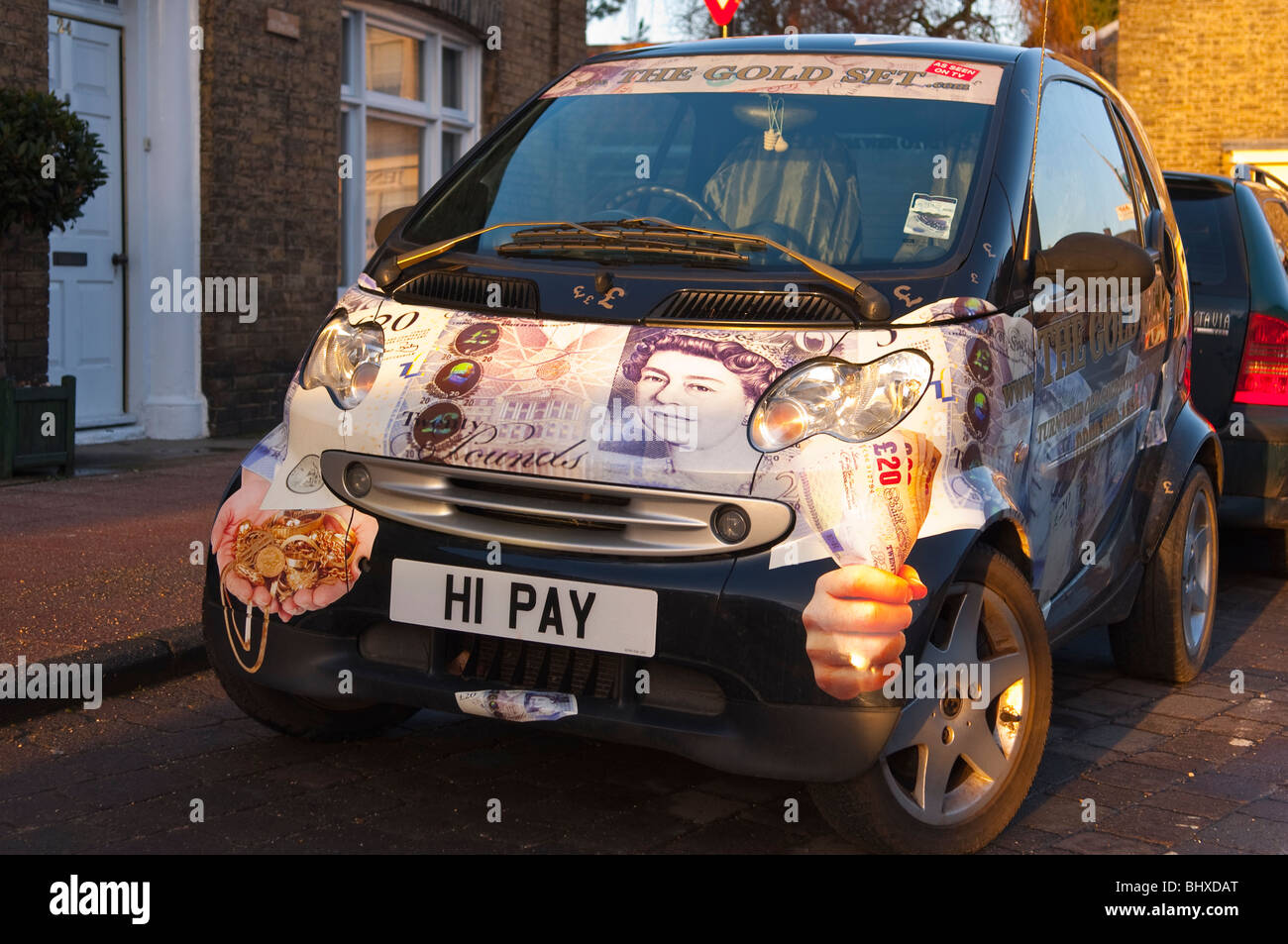 A customized Smart car with private number plate in Bungay , Suffolk , England , Britain , Uk - Stock Image