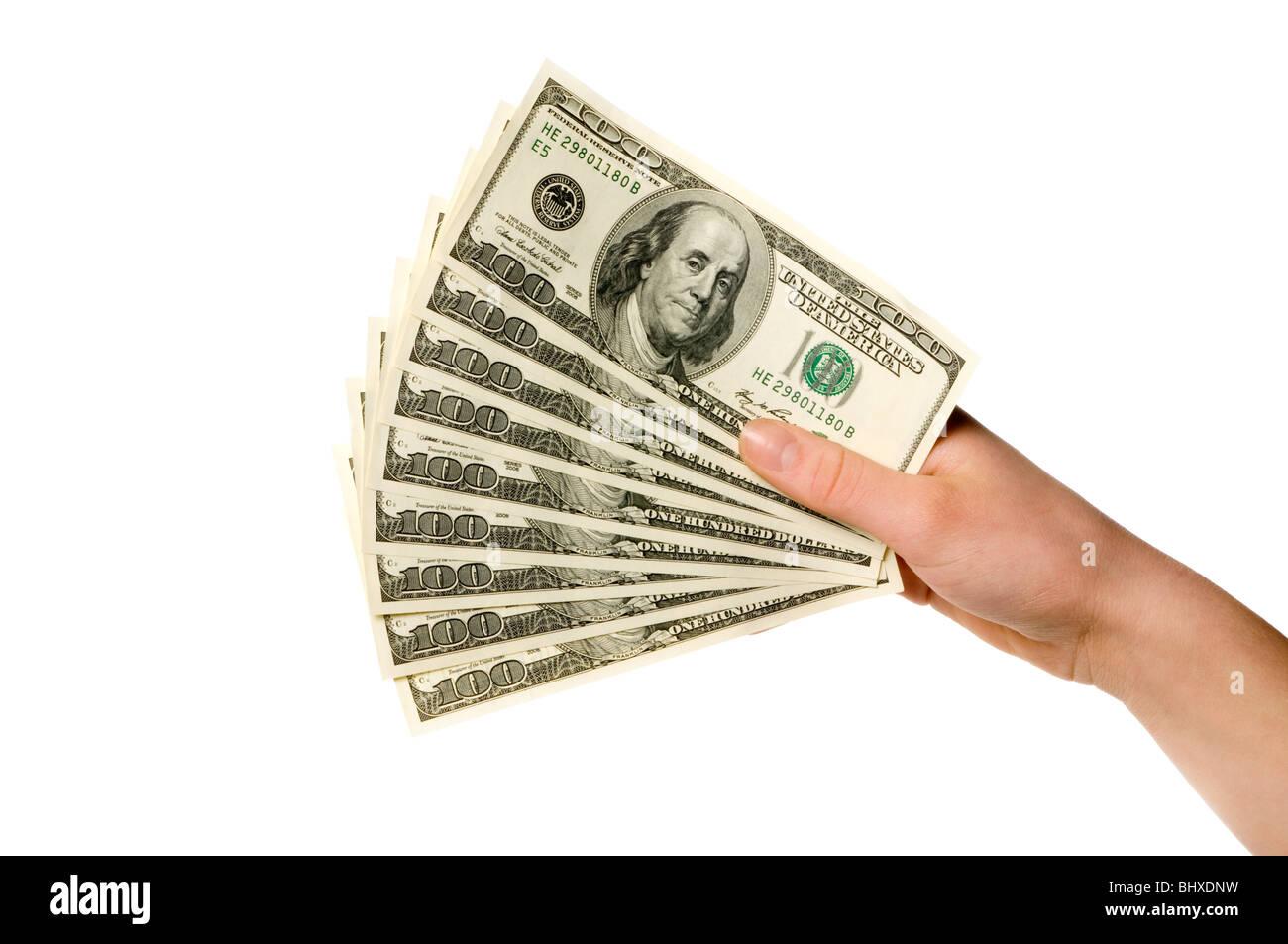 hand holding money - Stock Image