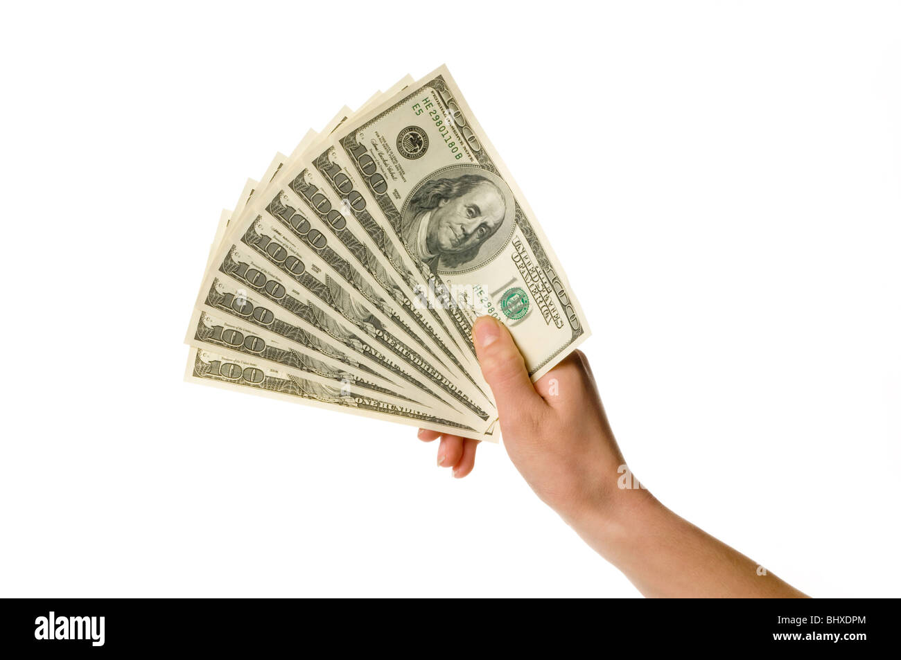 hand holding money - Stock Image