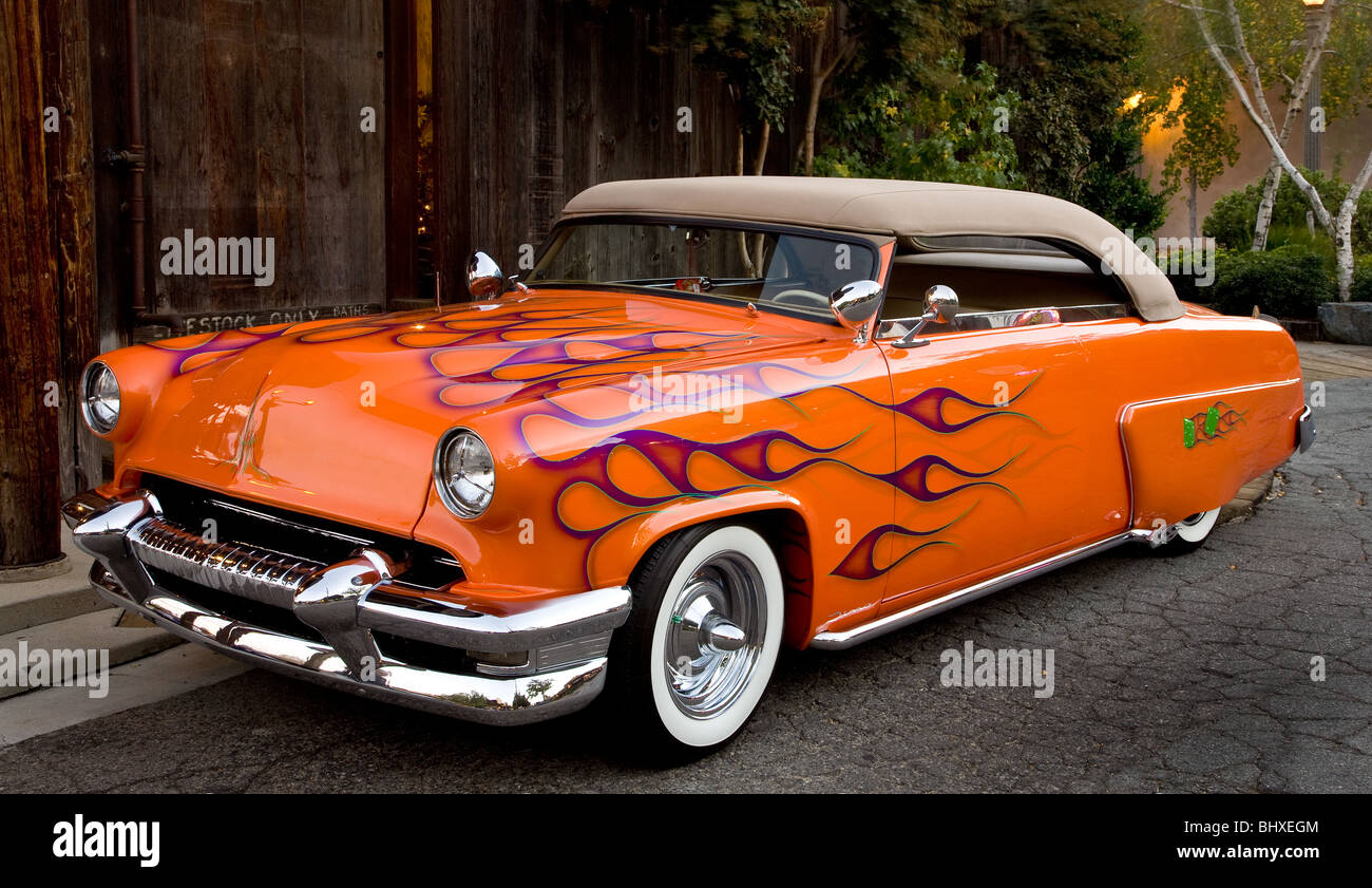 Orange Hot rod with airbrushed flames Stock Photo: 28241716 - Alamy