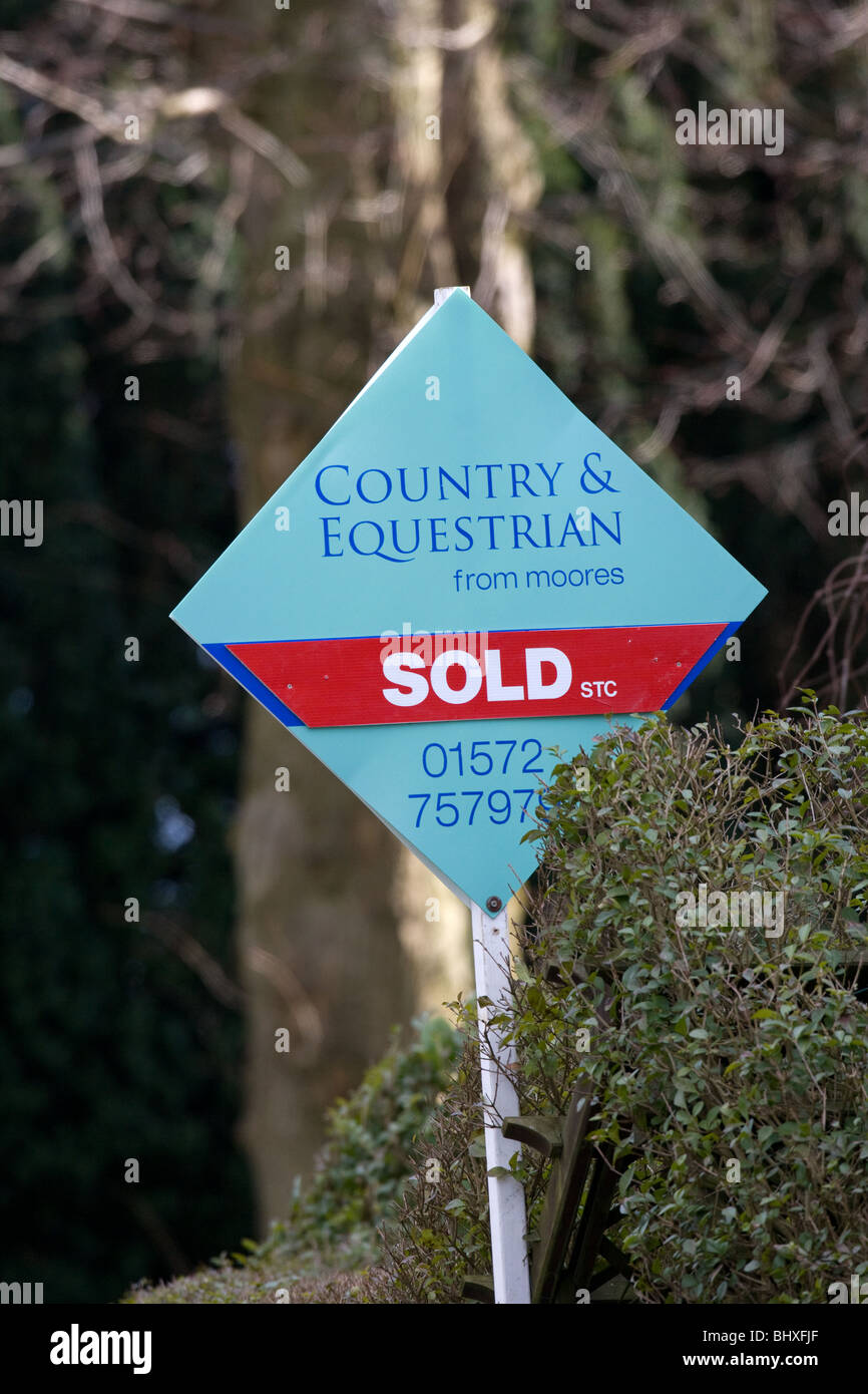 Country Estate Agents Sold Sign - Stock Image