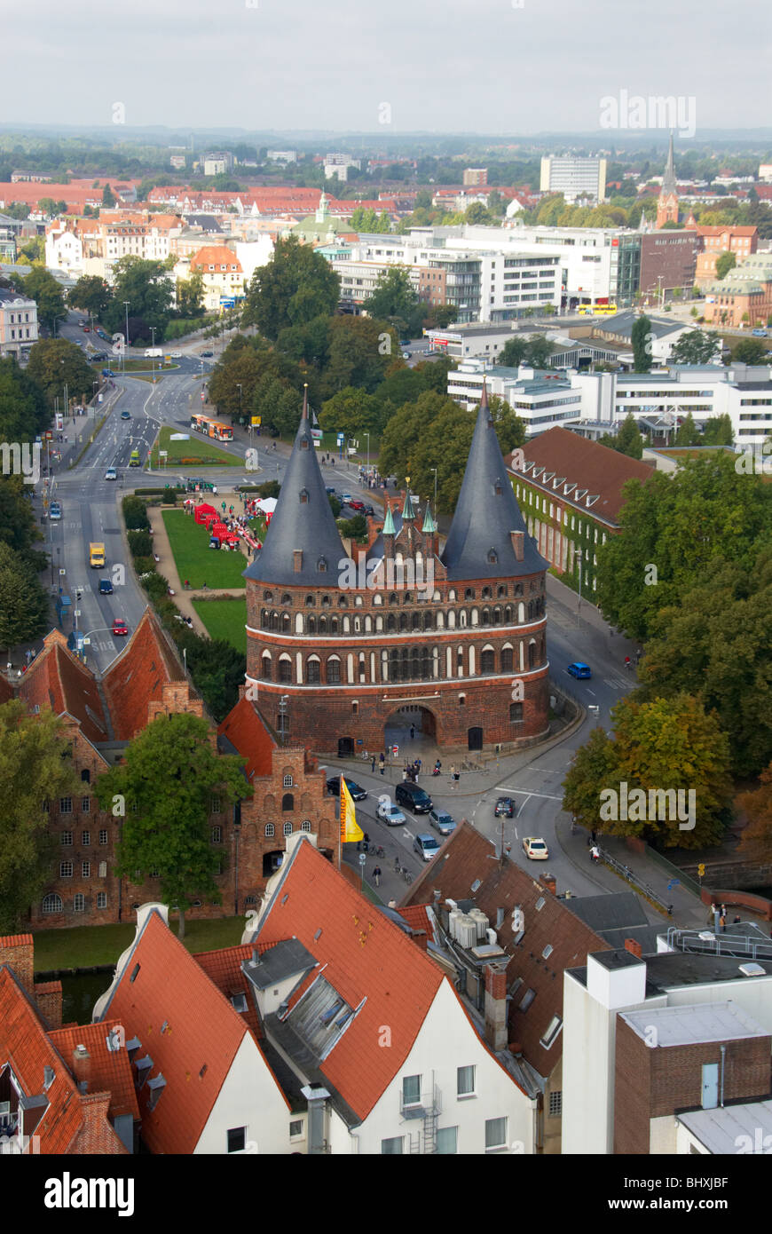 arial view of Lubeck - Stock Image