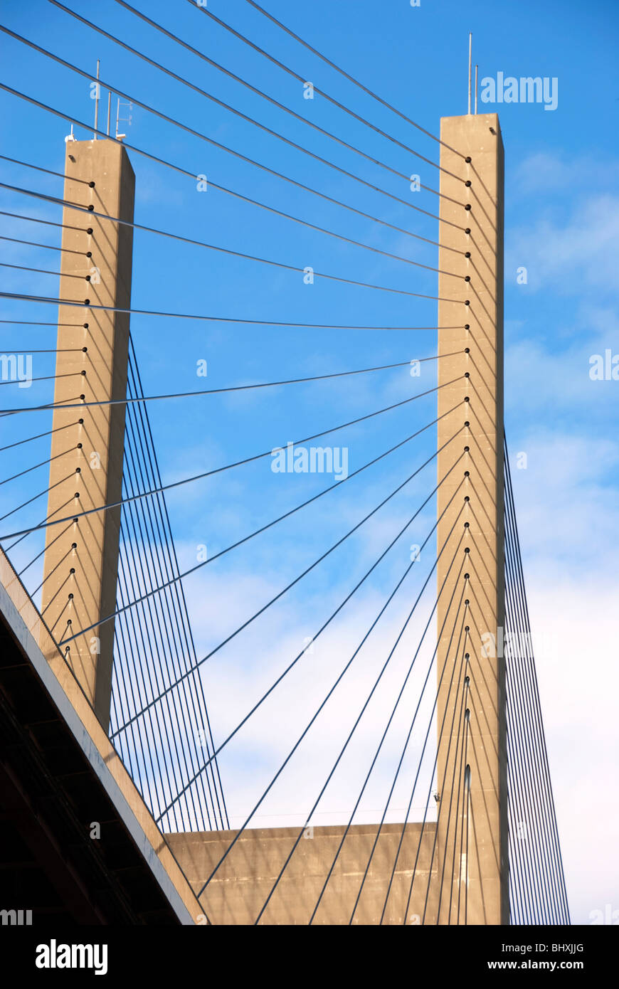 Symmetric patterns and shapes of a suspension bridge. - Stock Image
