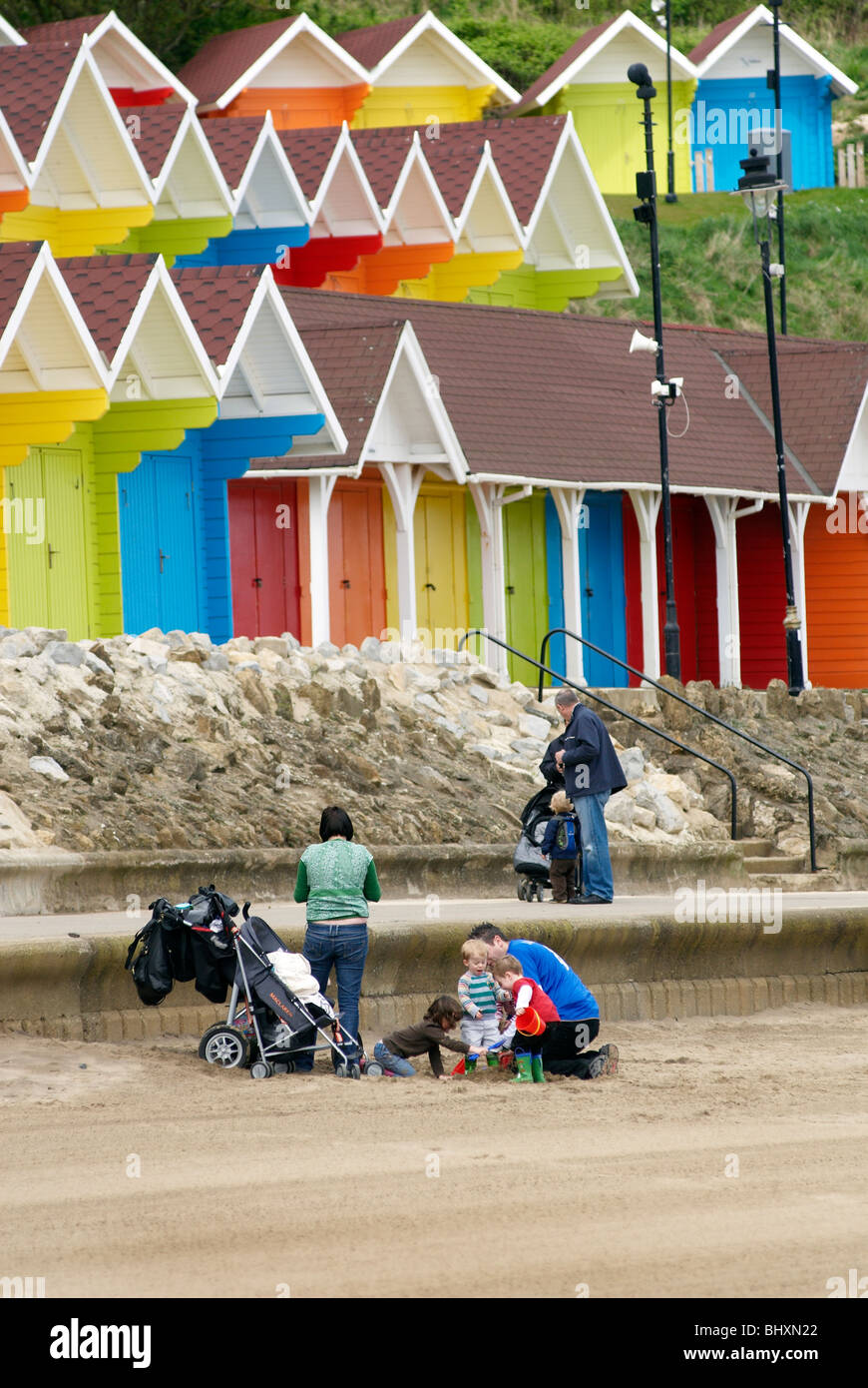 Beach Huts scarborough North Bay Yorkshire - Stock Image