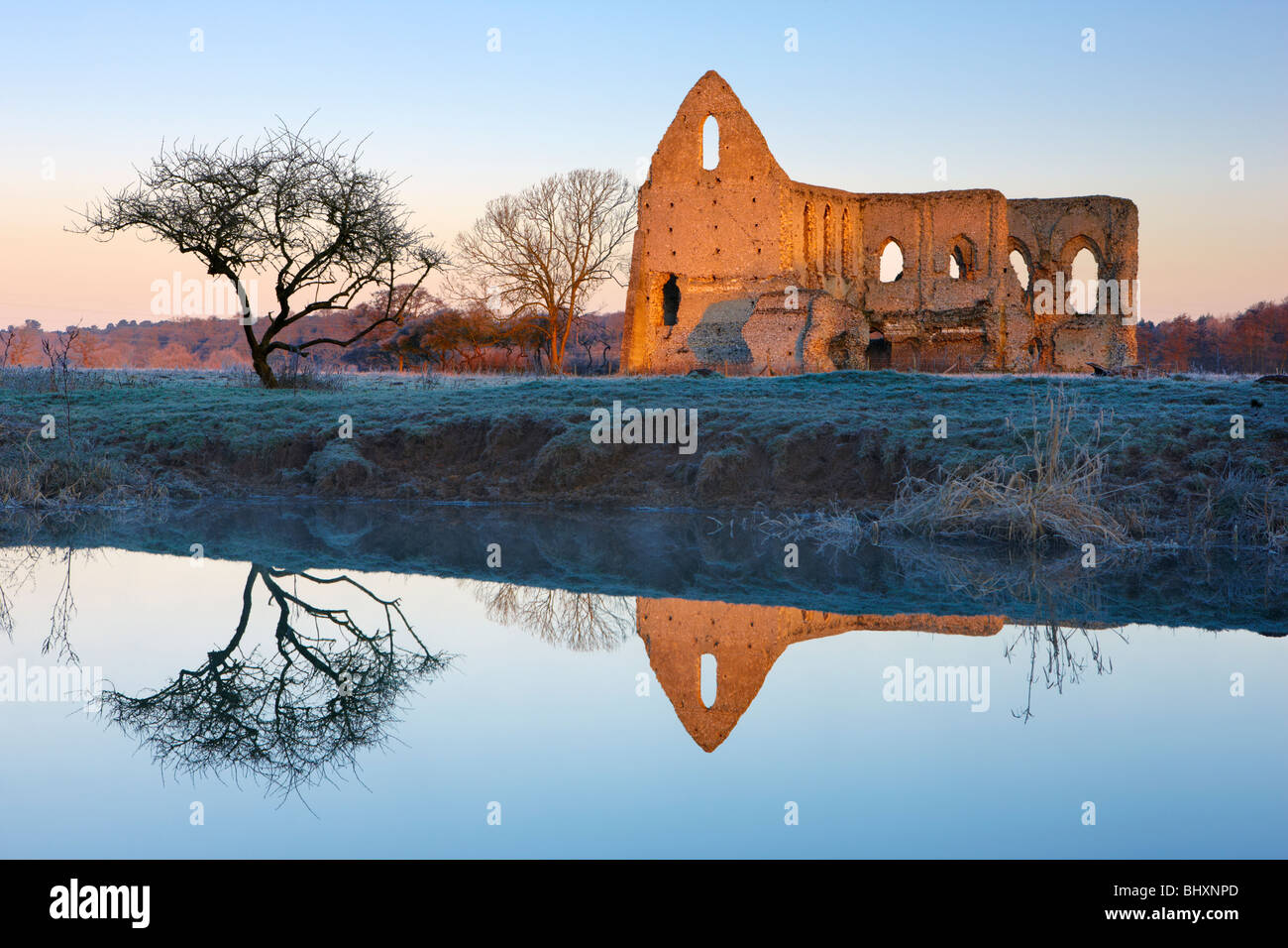Newark Priory reflected in the River Wey Pyrford. Early sunlight catches the stonework along the frosty riverbank - Stock Image