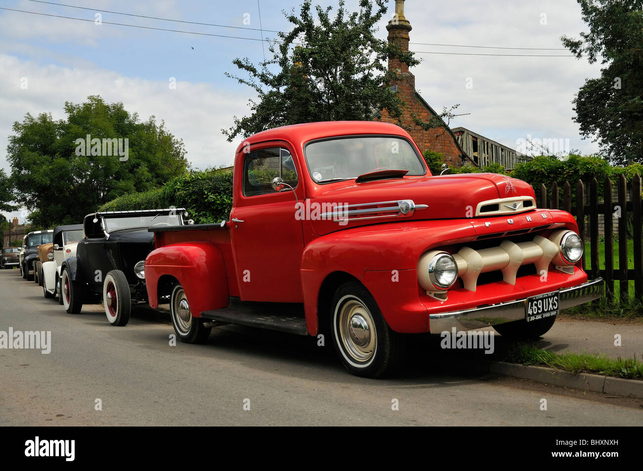 Vintage Red Ford Pickup Truck Stock Photos 1941 Hot Rod 1940s Stepside Hotrod Line Up At Shakedown Rocknroll Festival