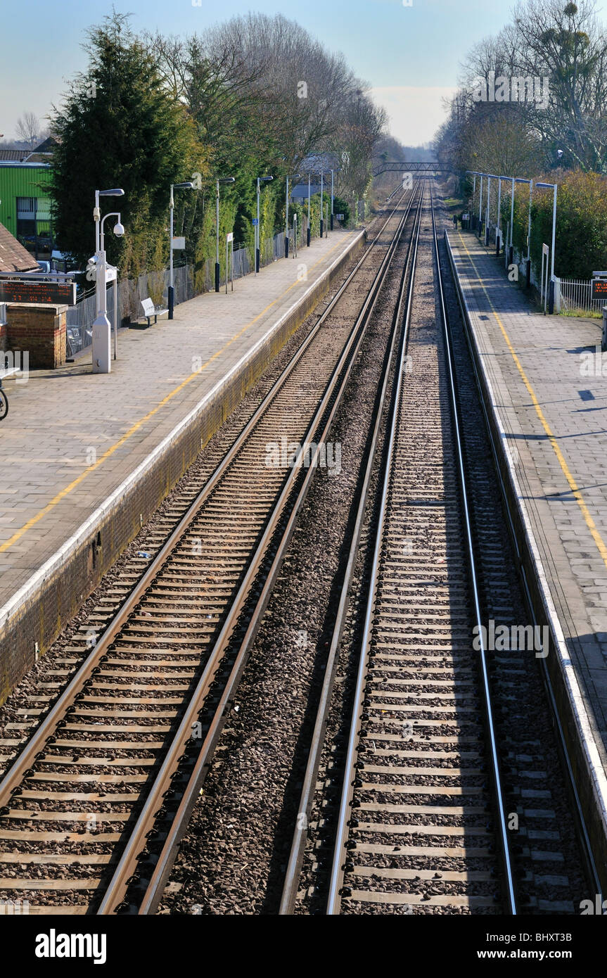 Railway lines into distance - Stock Image