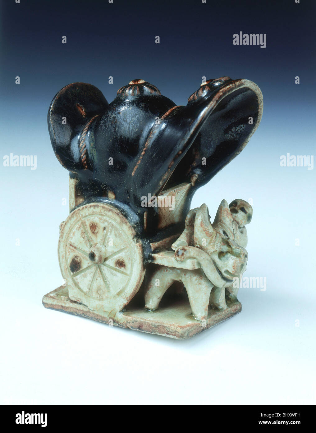 Ox-drawn covered wagon with lady passenger, late Tang dynasty, China, 9th century. - Stock Image