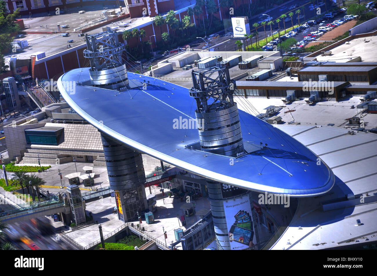 Deliberately tonemapped, bold-colored version of Fashion Square Mall overhang in Las Vegas. - Stock Image