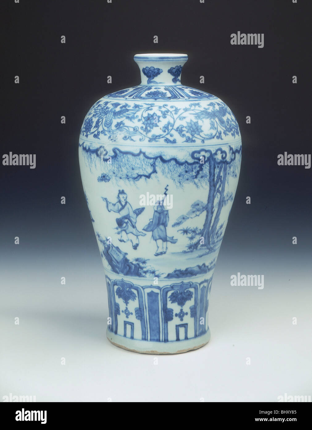 blue and white meiping vase ming dynasty china 2nd half of 15th century