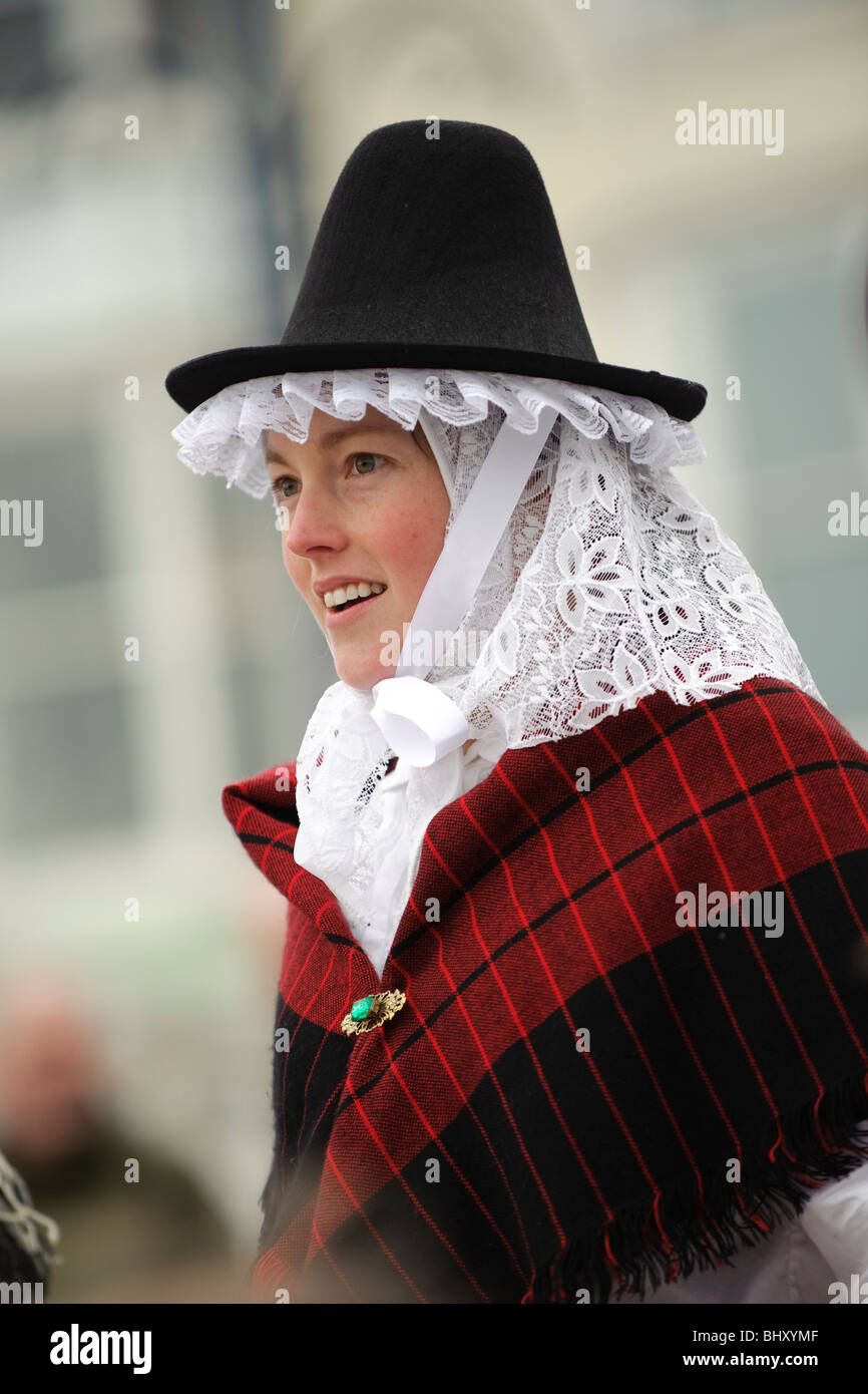 506d9c1a4 a young woman dressed in traditional costume at the Welsh Lady charity  sponsored fun run,