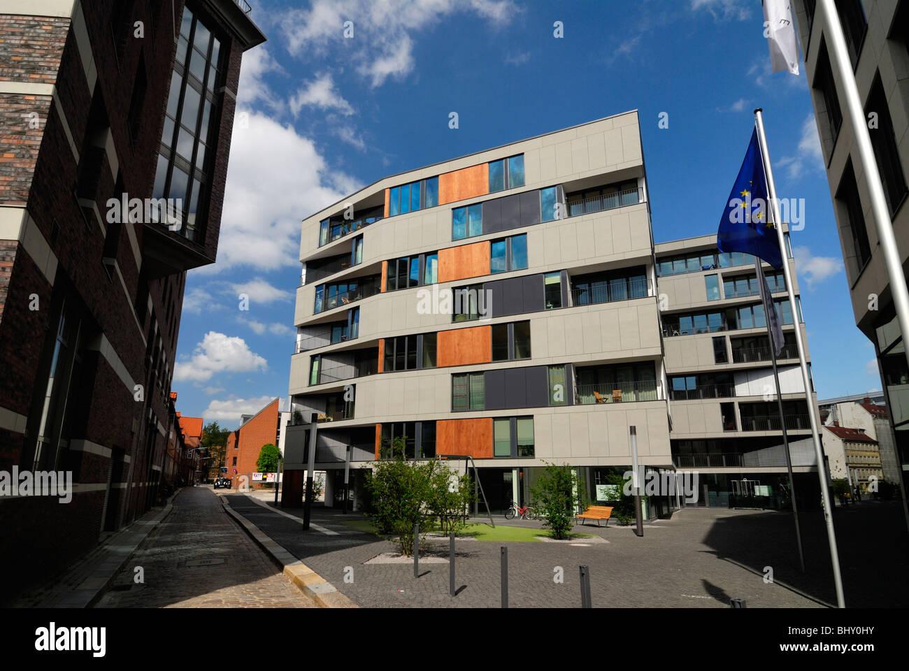 Modern houses in the Brahms headquarters in Hamburg, Germany, Europe ...