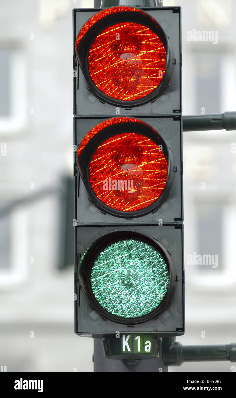 Traffic Lights With Two Red Lights And A Green Light Symbol Photo