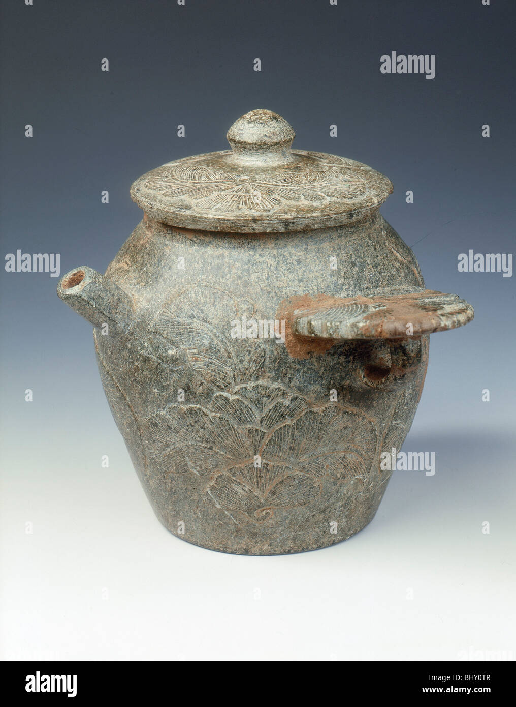 Steatite ewer and cover with cabbage-like foliage in low relief, Late Tang dynasty, 9th century. - Stock Image