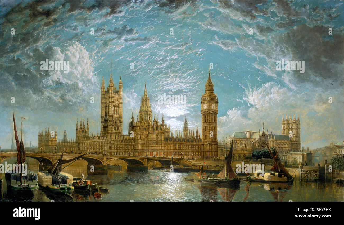 'Westminster Bridge, the Houses of Parliament and Westminster Abbey seen from the River', 1872. Artist: - Stock Image