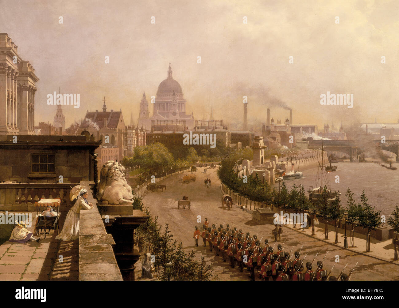 'The Embankment', 1874. Artist: John Scorrer O'Connor - Stock Image