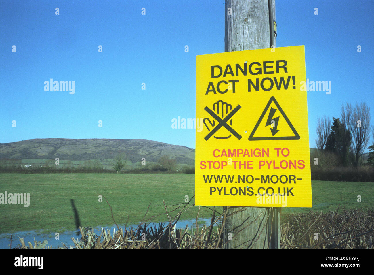 Protest poster near Badgworth Axbridge somerset against construction of power lines from Hinkley Point Nuclear power - Stock Image