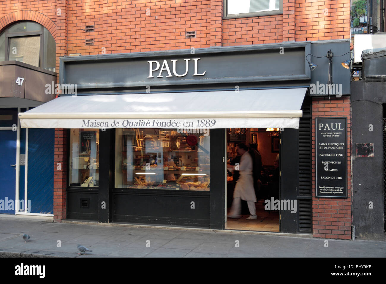 The shop front of the Paul bakery shop, Old Compton Street, London. Nov 2009 - Stock Image