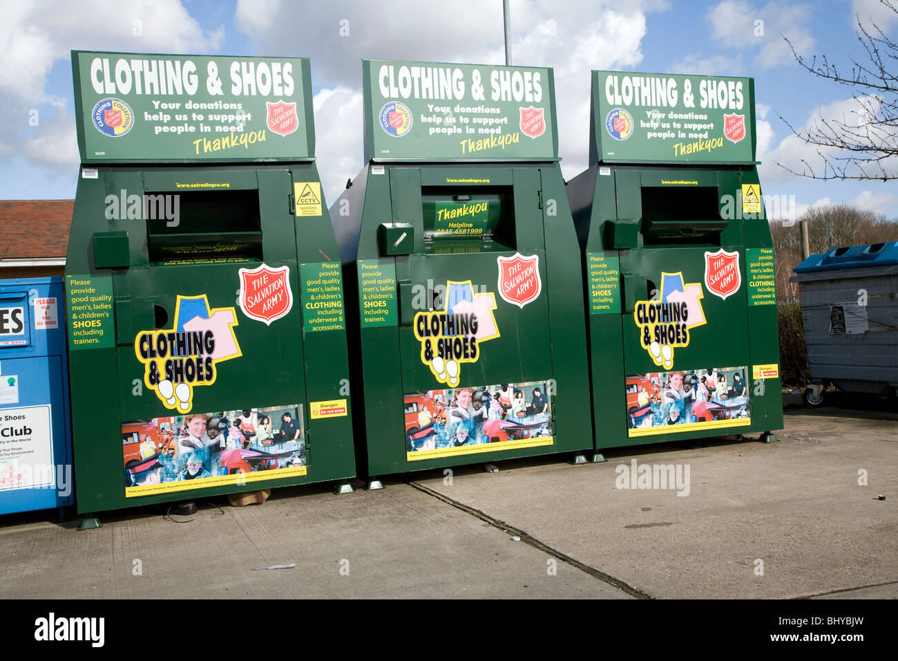 Recycling collection containers for shoes and clothing - Stock Image