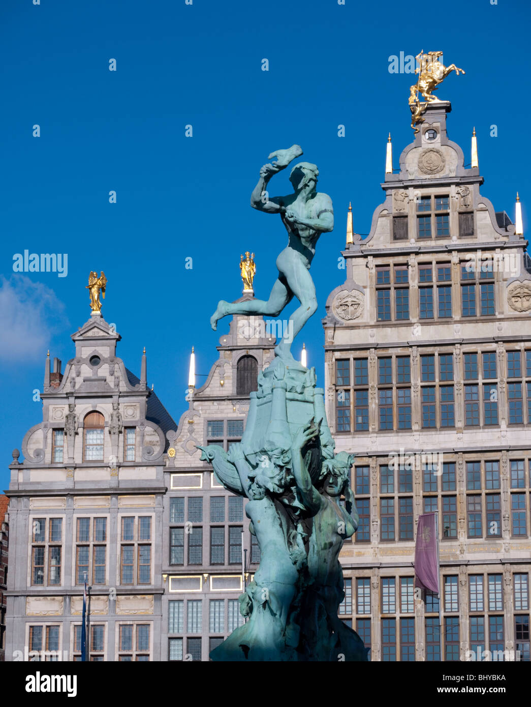 Fountain and historic buildings in Grote Markt square in Antwerp Belgium Stock Photo