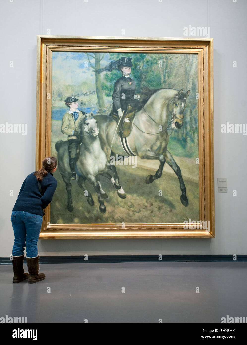 Painting Riding in the Bois de Boulogne by Auguste Renoir at Kunsthalle art museum in Hamburg Germany - Stock Image