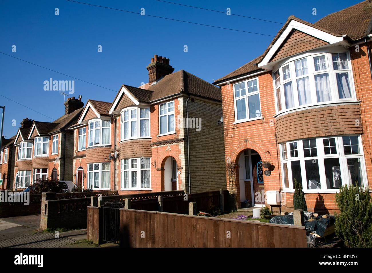 Inter war 1930s semi detached housing with bay windows Ipswich Suffolk England - Stock Image