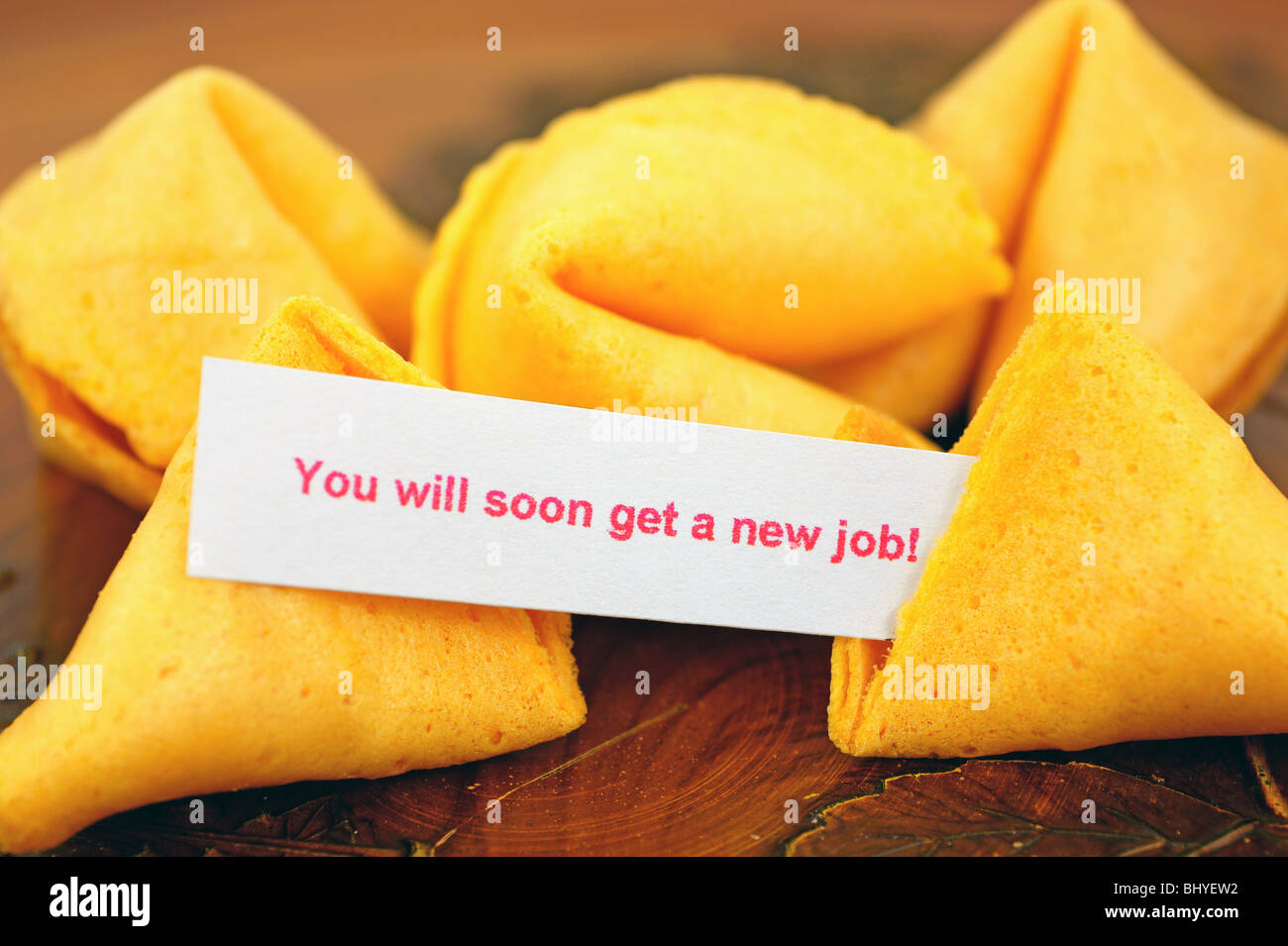 Fortune cookie with job prediction - Stock Image