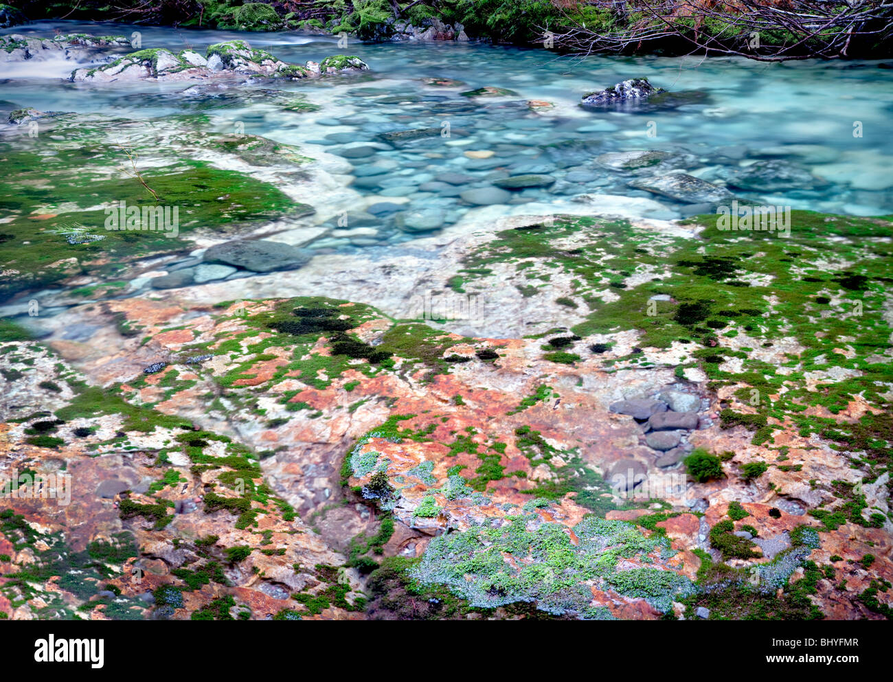 Little North Santiam River with colorful rocks and pools. Opal Creek Scenic Recreation Area, Oregon - Stock Image