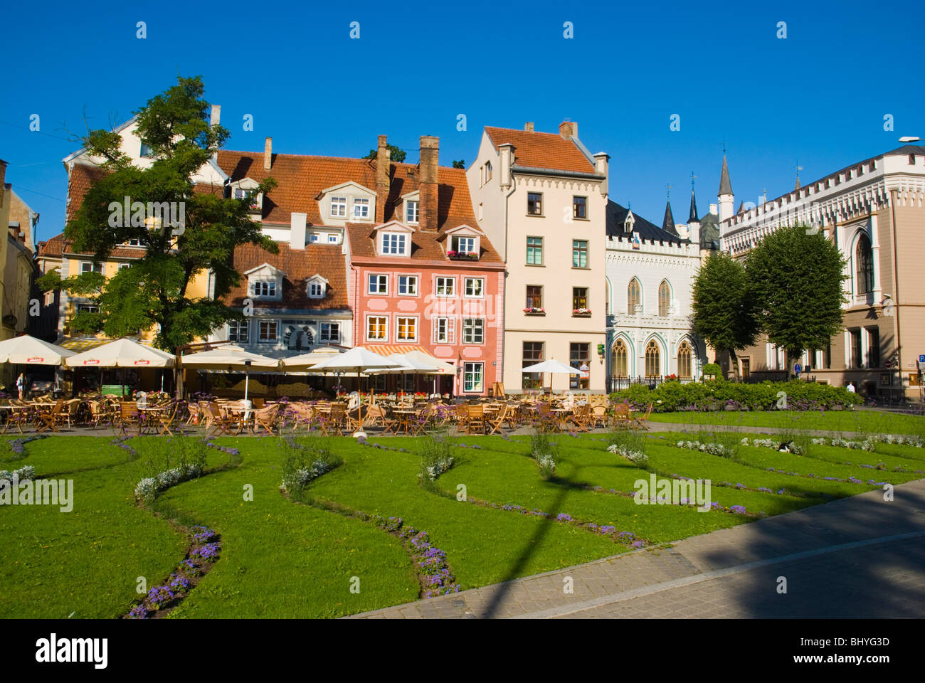 Livu Laukums square Vecriga the old town Riga Latvia Europe - Stock Image