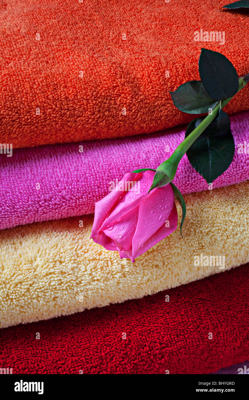 Pink rose and bath towels - Stock Image