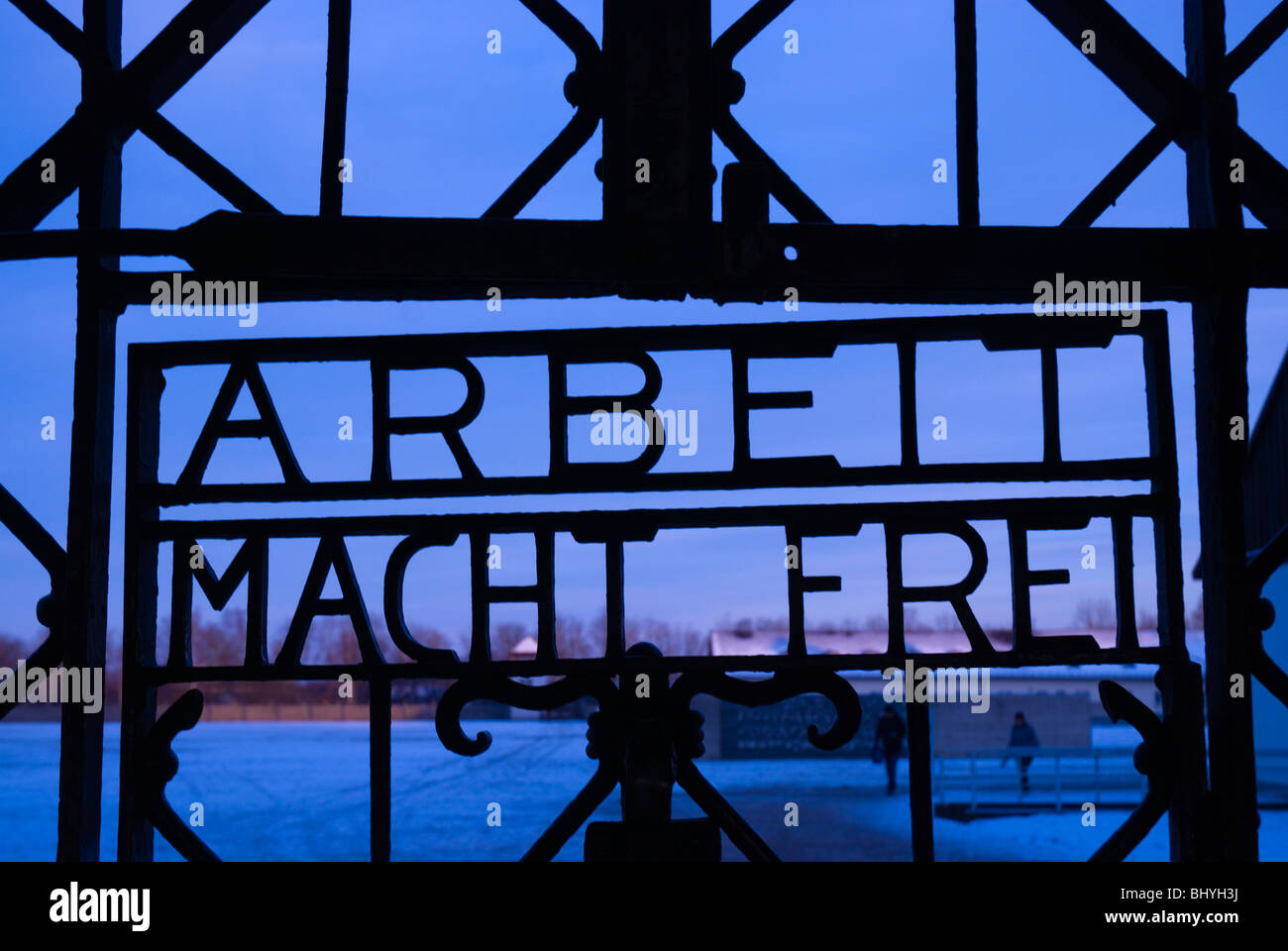 Arbeit Macht Frei sign the gate of Dachau concentration camp Munich Bavaria Germany Europe - Stock Image