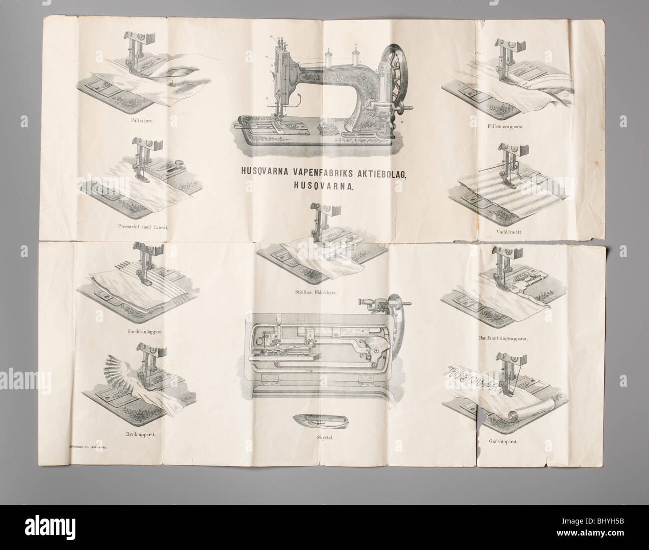 Instructions how to use a swedish Husqvarna sewing machine from the 1800s - Stock Image