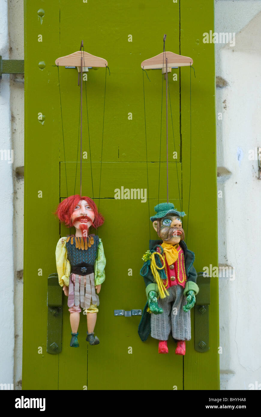 Puppets for sale Mala Strana central Prague Czech Republic Europe - Stock Image