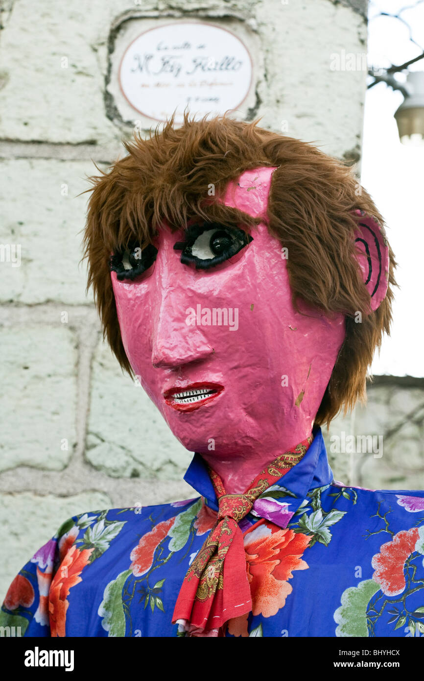 papier mache head of male giant puppet dancer at church festival in Oaxaca City Mexico - Stock Image