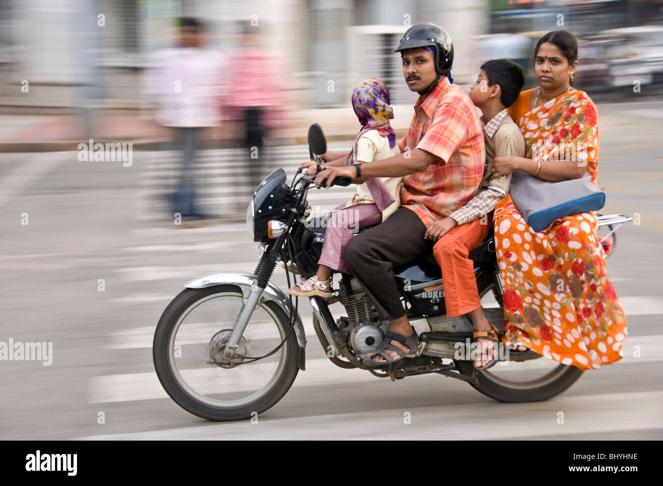 motorcycle family photo  Indian Family On Bike Stock Photos